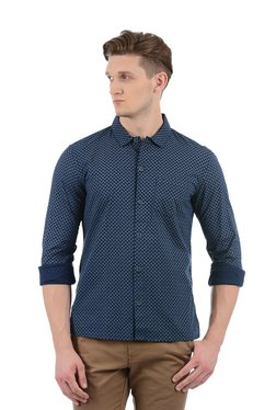 Indian Terrain Navy Printed Slim Fit Shirt