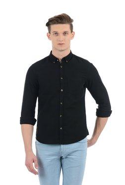 Indian Terrain Black Button Down Collar Full Sleeves Shirt
