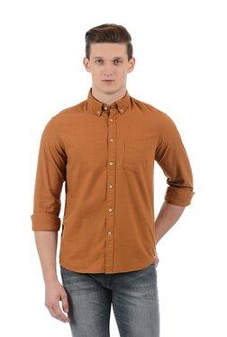 Indian Terrain Brown Cotton Regular Fit Shirt