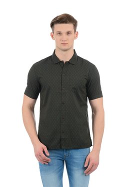 Indian Terrain Olive Slim Fit Shirt