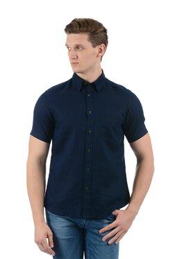 Indian Terrain Blue Solid Button Down Collar Linen Shirt