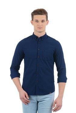 Indian Terrain Blue Cotton Button Down Collar Shirt