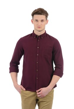 Indian Terrain Maroon Button Down Collar Cotton Shirt