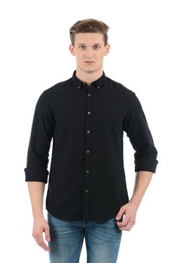 Indian Terrain Black Button Down Collar Shirt