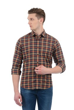 Indian Terrain Brown Checks Regular Fit Shirt