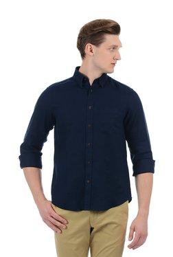Indian Terrain Navy Solid Button Down Collar Linen Shirt