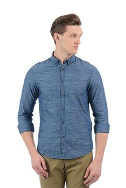 Indian Terrain Blue Button Down Collar Slim Fit Shirt