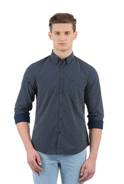 Indian Terrain Navy Button Down Collar Cotton Shirt