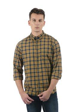 Indian Terrain Brown & Navy Regular Fit Shirt