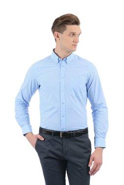 Indian Terrain Light Blue Button Down Collar Checks Shirt