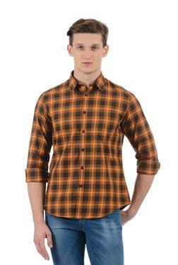 Indian Terrain Brown & Black Regular Fit Checks Shirt