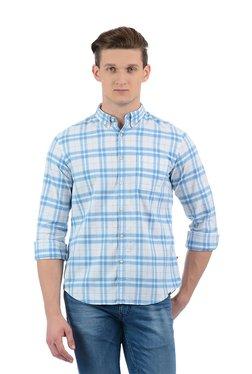 Indian Terrain White & Blue Button Down Collar Shirt