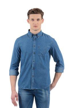 Indian Terrain Blue Striped Full Sleeves Shirt