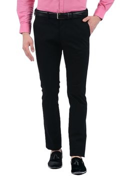 Indian Terrain Black Solid Slim Fit Flat Front Trousers