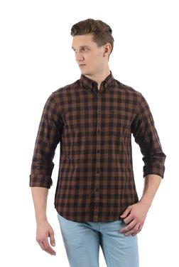 Indian Terrain Dark Brown Button Down Collar Cotton Shirt