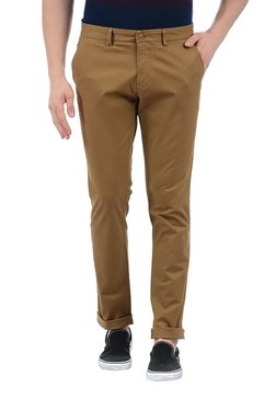 Indian Terrain Brown Solid Slim Fit Flat Front Trousers
