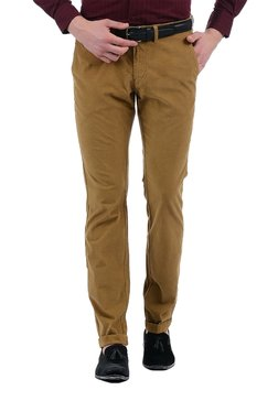 03e8566a68e Indian Terrain Brown Solid Low Rise Flat Front Trousers