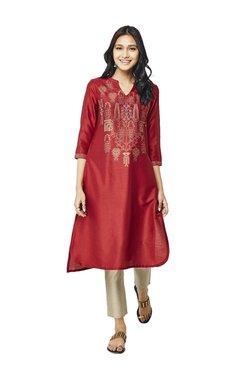 Global Desi Red Printed Viscose High Low Kurta