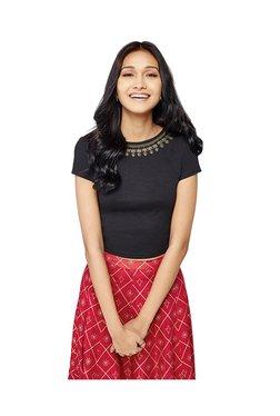 Global Desi Black Short Sleeves Crop Top