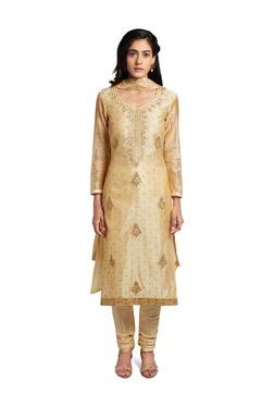 Soch Beige Embroidered Chanderi Ready-To-Stitch Suit