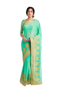 Soch Green Embroidered Silk Saree With Blouse