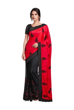Soch Black & Red Embroidered Chiffon Saree With Blouse