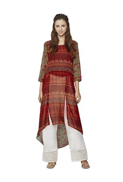 Global Desi Red Printed Polyester High Low Kurta