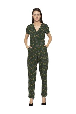 Globus Green Floral Print Maxi Jumpsuit