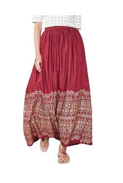Global Desi Red Printed Maxi Skirt - Mp000000003580800