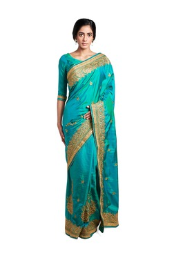Soch Sea Green Embroidered Silk Saree With Blouse