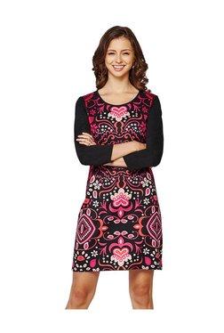 Global Desi Black & Pink Printed Above Knee Dress