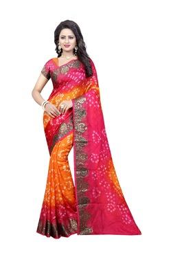 Aasvaa Orange Art Silk Saree With Blouse