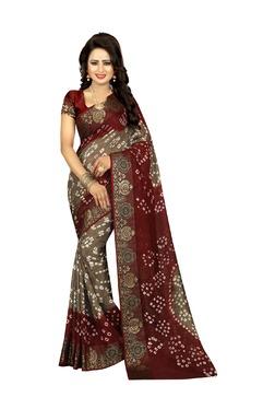 Aasvaa Brown Art Silk Saree With Blouse