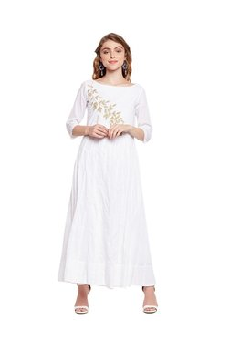 MEEE White Embroidered Maxi Dress