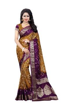 Aasvaa Brown Bandhani Print Art Silk Saree With Blouse - Mp000000003582685