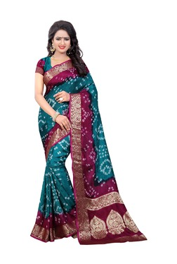 Aasvaa Blue Bandhani Print Art Silk Saree With Blouse