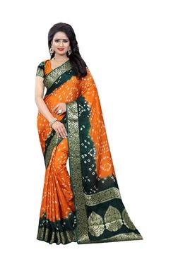 Aasvaa Orange Bandhani Print Art Silk Saree With Blouse