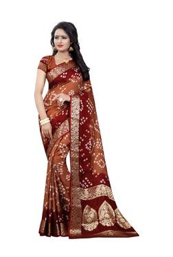 Aasvaa Brown Bandhani Print Art Silk Saree With Blouse