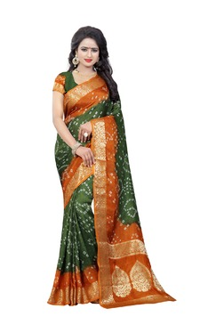 Aasvaa Green Bandhani Print Art Silk Saree With Blouse