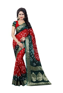 Aasvaa Red Bandhani Print Art Silk Saree With Blouse - Mp000000003582725