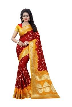 Aasvaa Red Bandhani Print Art Silk Saree With Blouse