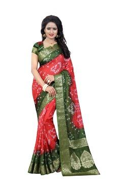 Aasvaa Pink Bandhani Print Art Silk Saree With Blouse