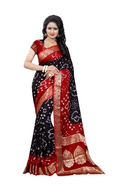 Aasvaa Black Bandhani Print Art Silk Saree With Blouse