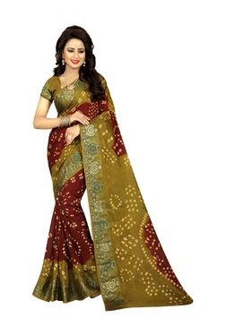 Aasvaa Brown & Olive Art Silk Saree With Blouse