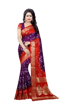 Aasvaa Purple Bandhani Print Art Silk Saree With Blouse