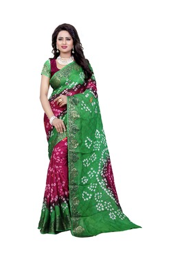 Aasvaa Red & Green Art Silk Saree With Blouse