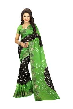 Aasvaa Black & Green Art Silk Saree With Blouse