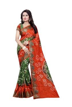 Aasvaa Green & Orange Art Silk Saree With Blouse