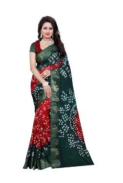 Aasvaa Orange & Green Art Silk Saree With Blouse