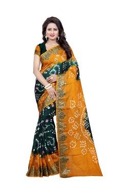 Aasvaa Green & Yellow Art Silk Saree With Blouse